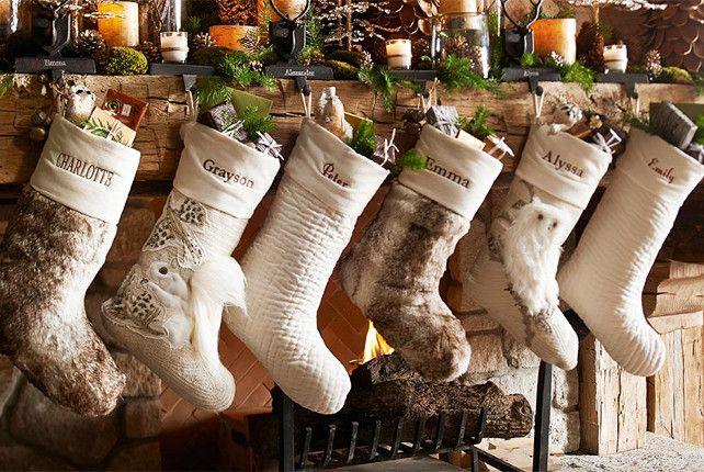 christmas stockings in same tones - Rustic Christmas Stockings