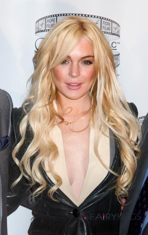 100% Human Hair Blonde Long Wavy Full Lace Wigs
