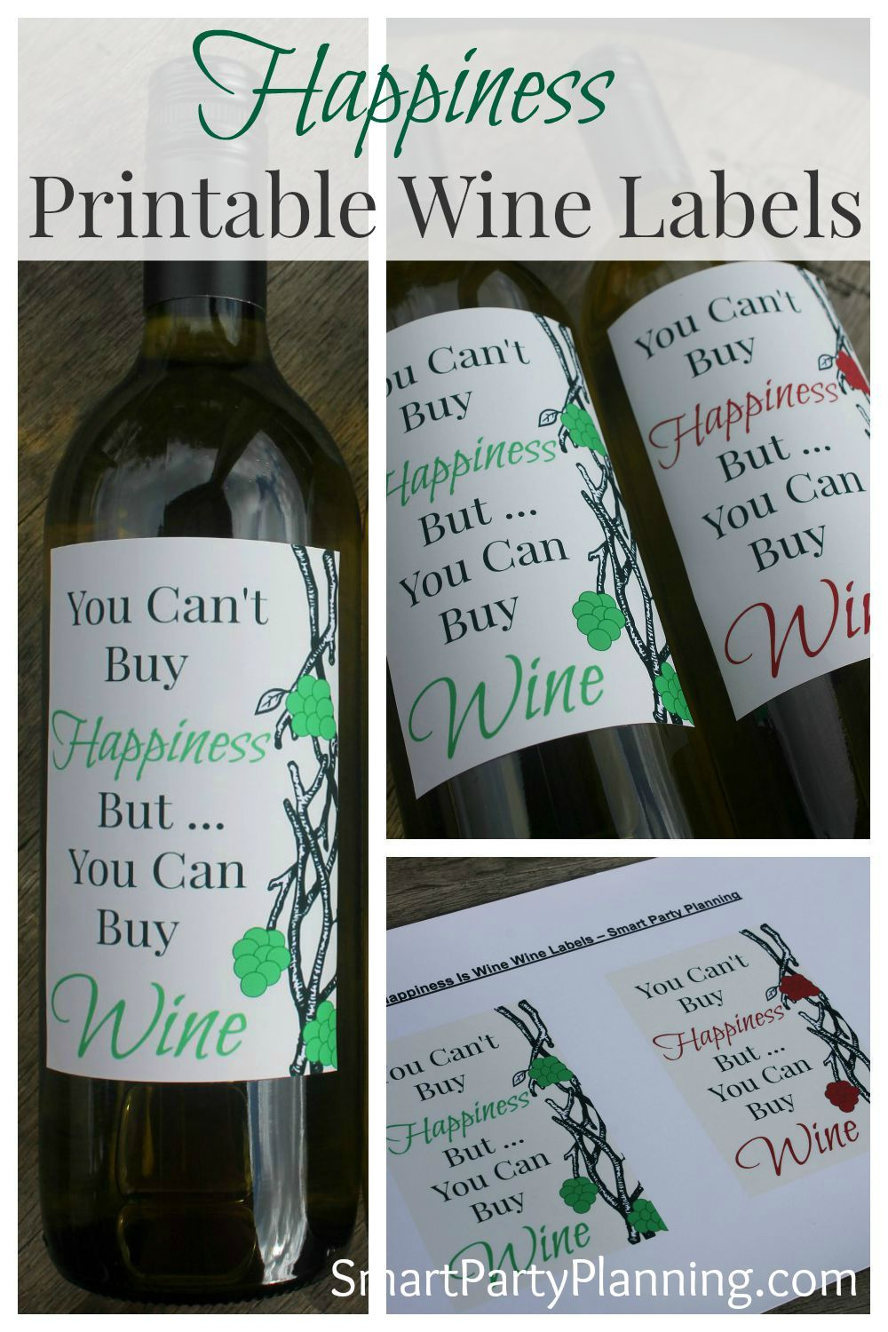 Wine label printable happiness is happiness wine and bottle