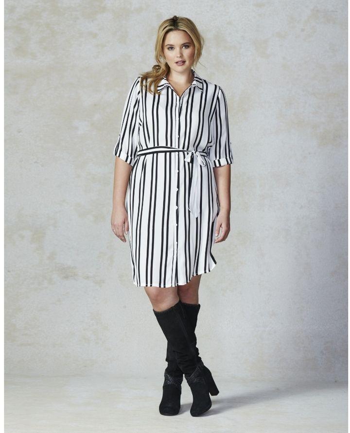 Ax Paris Stripe Shirt Dress Plus Size Plus Size Dresses Pinterest