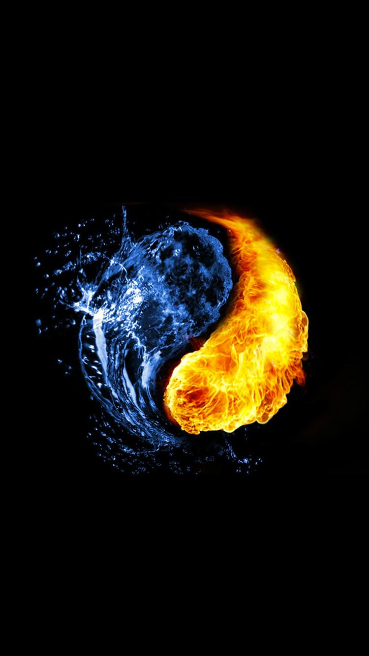 Water Fire Yin Yang Iphone 6 Wallpaper Lock Screen Background 750x1334 Pixels