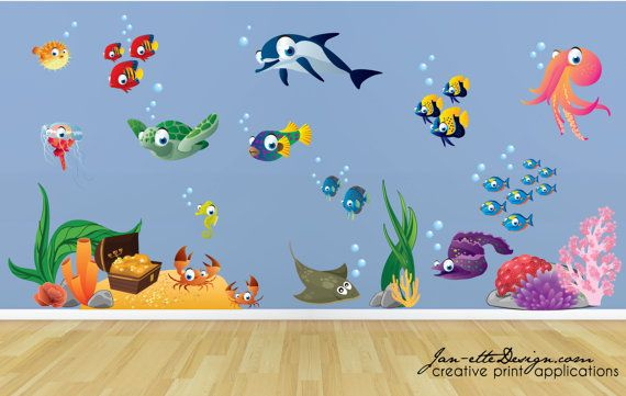 Kids Wall DecalsFish and Deep Sea Treasure Fabric by JanetteDesign