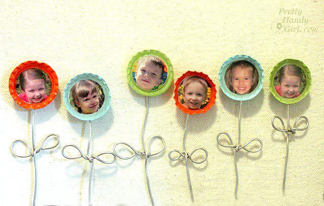 bottle cap flower magnets what a cute #MothersDay idea