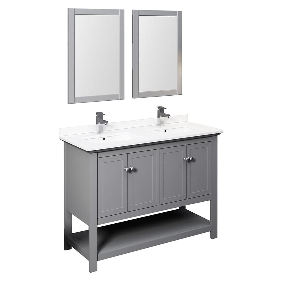 Fresca Manchester 48 Gray Traditional Double Sink Bathroom