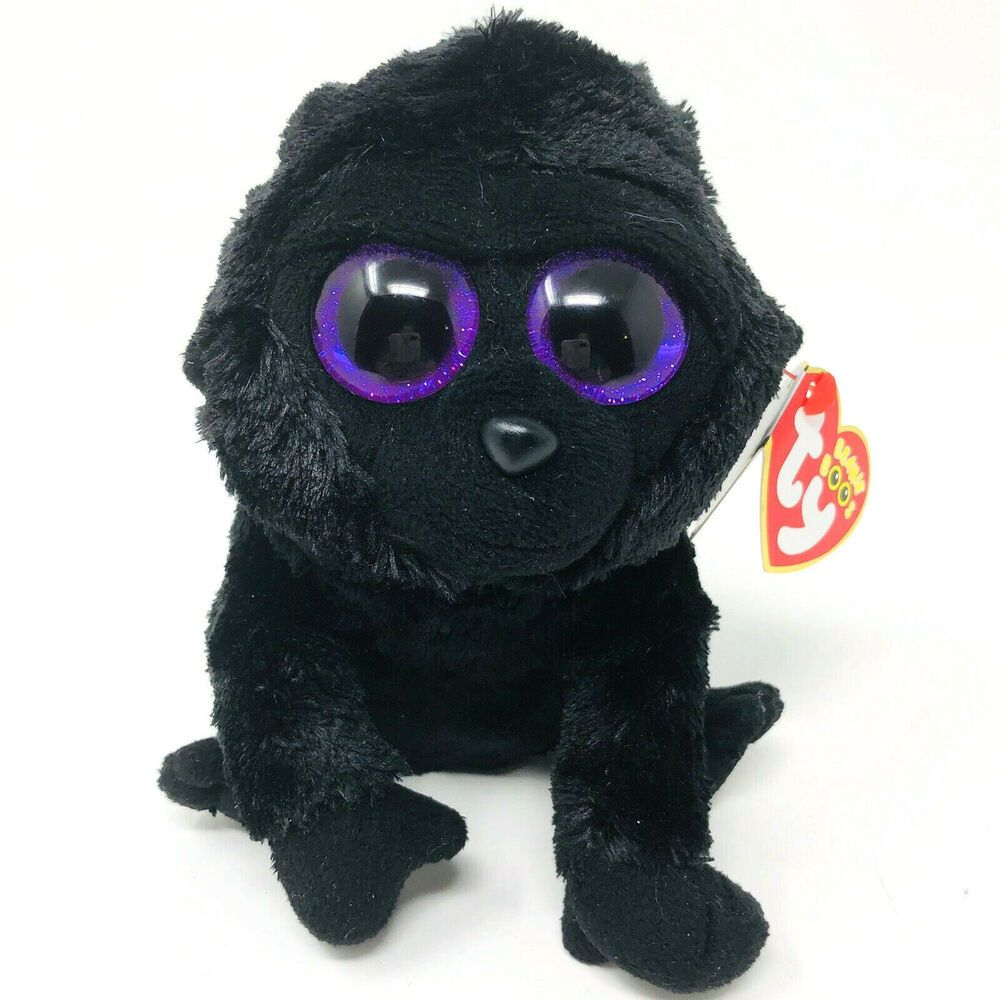 "Ty Beanie Boos Black Gorilla 6"" Large Purple Eyes"