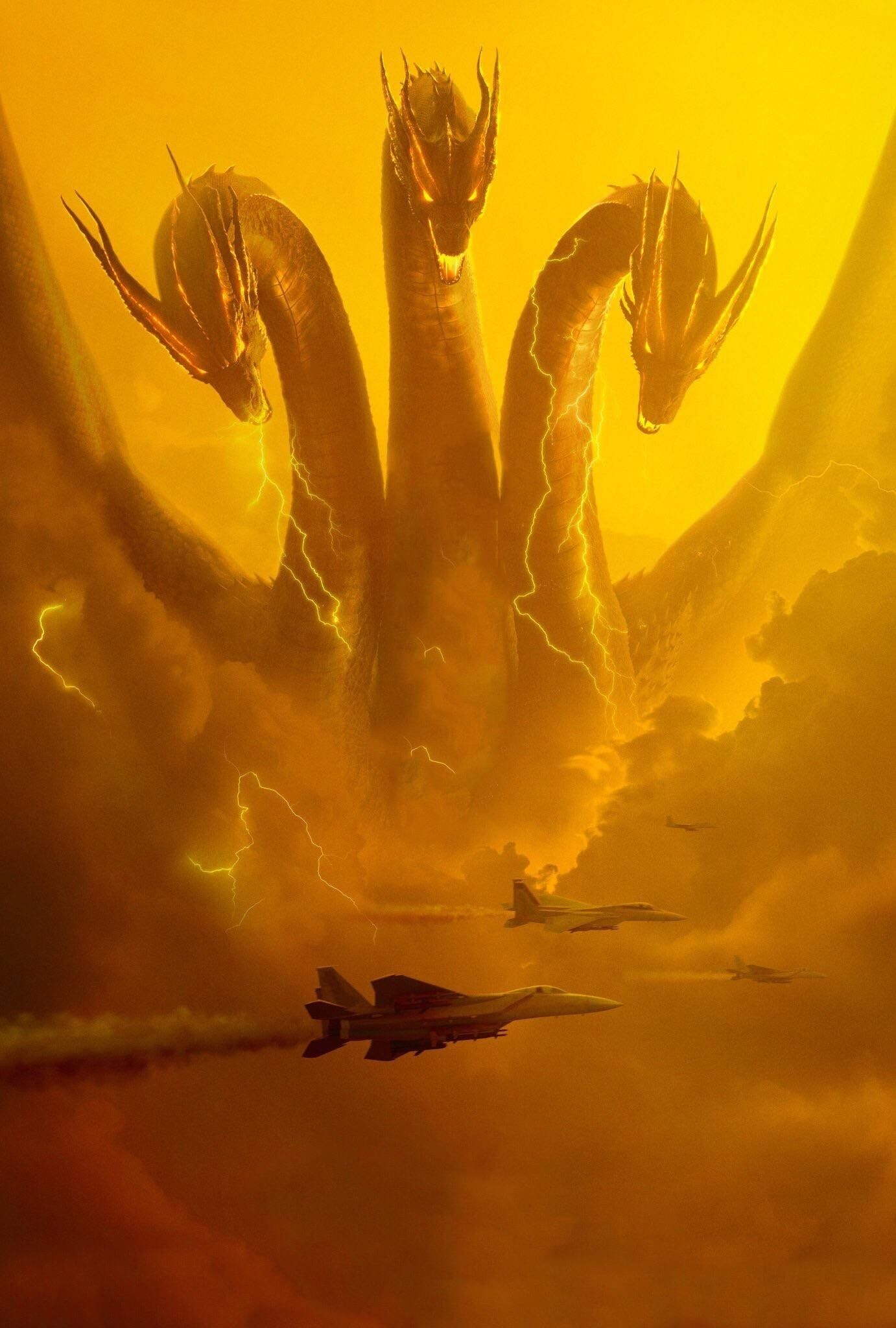 Official King Ghidorah 2019 Poster Textless Godzilla