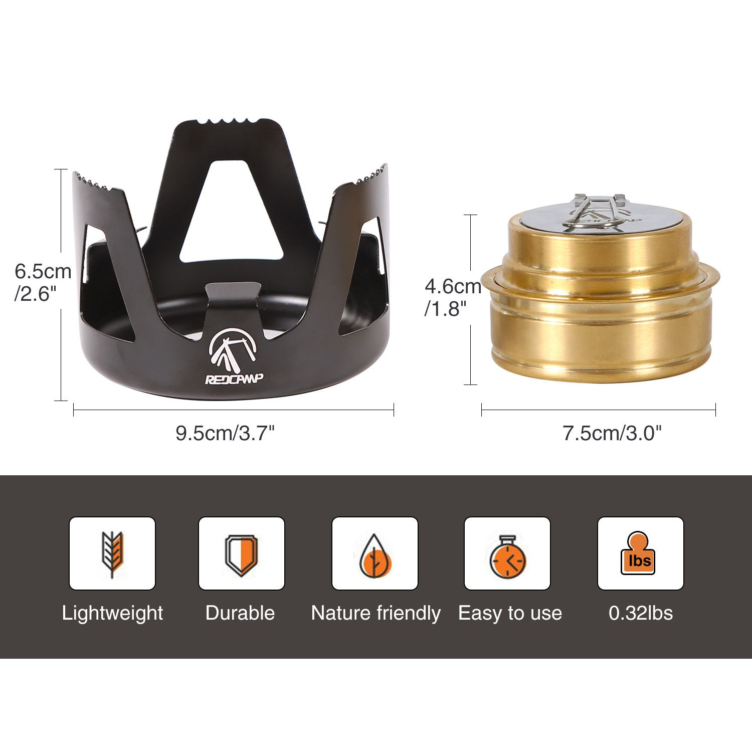Ultralight Portable Alcohol Stove for Backpacking Hiking Outdoor Small Lightweight Camping Stove for BBQ Cooking Picnic REDCAMP Mini Spirit Burner