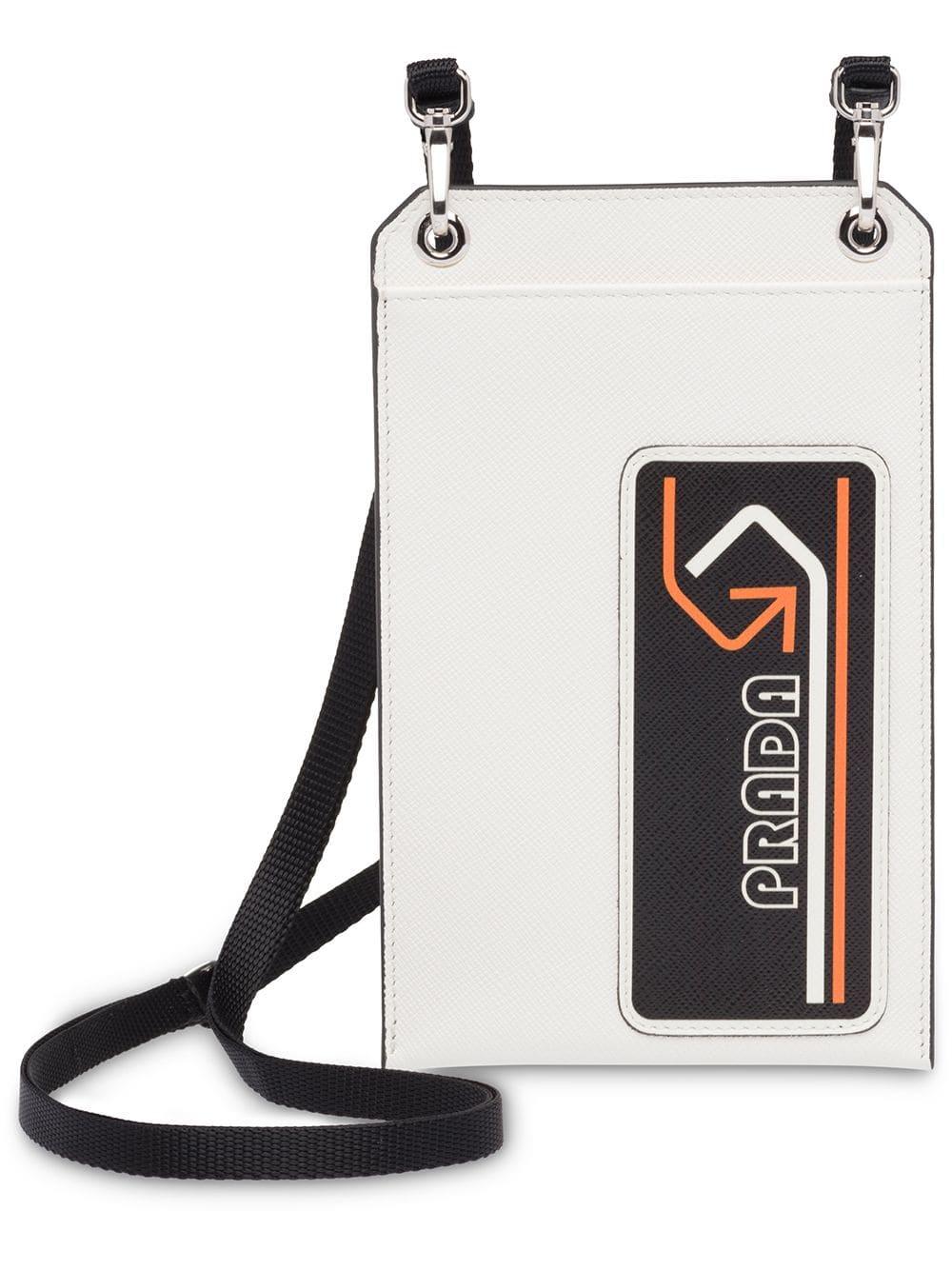 3b69516447 Prada saffiano badge holder - White   Products in 2019   Prada ...