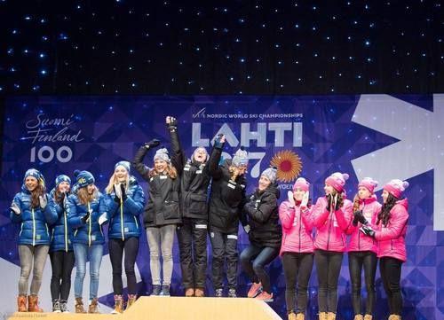 Congratulations! The top 3 of Ladies relay:  1. Norway (Maiken Caspersen Falla - Heidi Weng - Astrid Uhrenholdt Jacobsen - Marit Björgen)  2. Sweden (Anna Haag - Charlotte Kalla - Ebba Andersson - Stina Nilsson)  3. Finland (Aino-Kaisa Saarinen - Kerttu Niskanen - Laura Mononen - Krista Pärmäkoski)  Nordic World Ski Championships, Lahti, Finland, March 2017