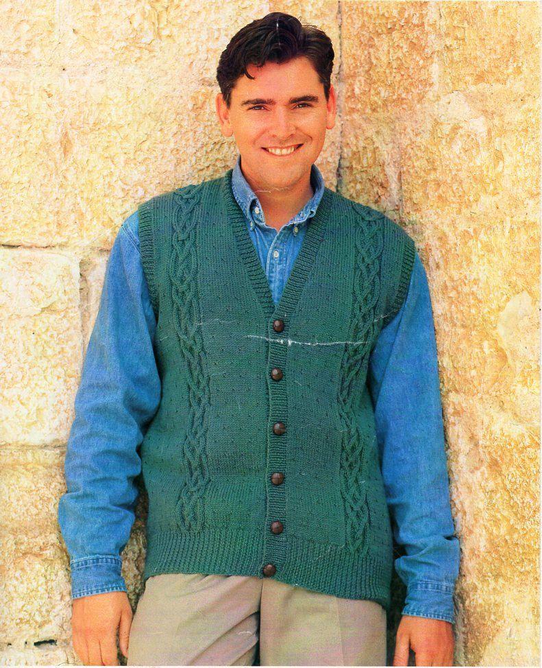 Mens Cable Waistcoat Knitting Pattern Pdf Dk Mens V Neck Vest Gilet