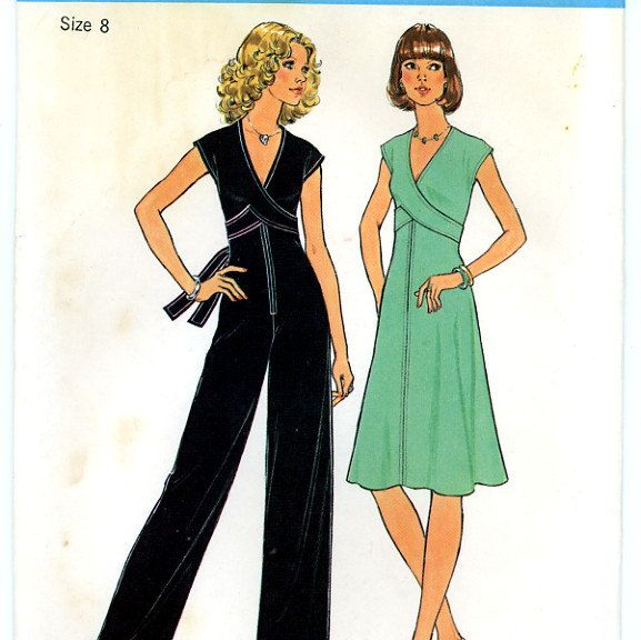 Simplicity 7522 Knit Dress and Jumpsuit Size 8 UNCUT Vintage Sewing ...