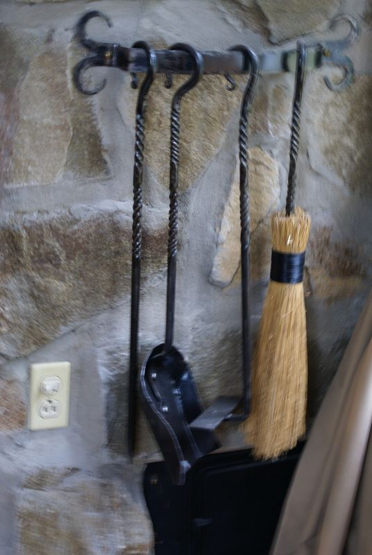 Hand forged 4 piece indoor fireplace tool set w/ wall mount rack ...