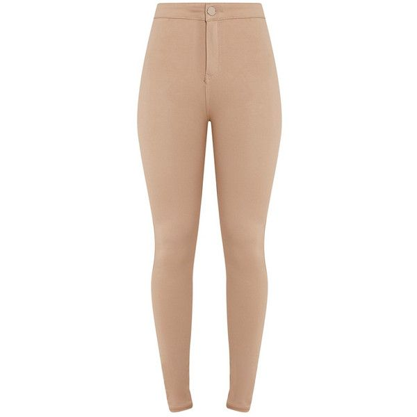 Samia Nude Jeggings (125 BRL) ❤ liked on Polyvore featuring pants, leggings, high rise jeggings, high-waisted jeggings, high waisted leggings, high-waisted pants and high rise denim leggings