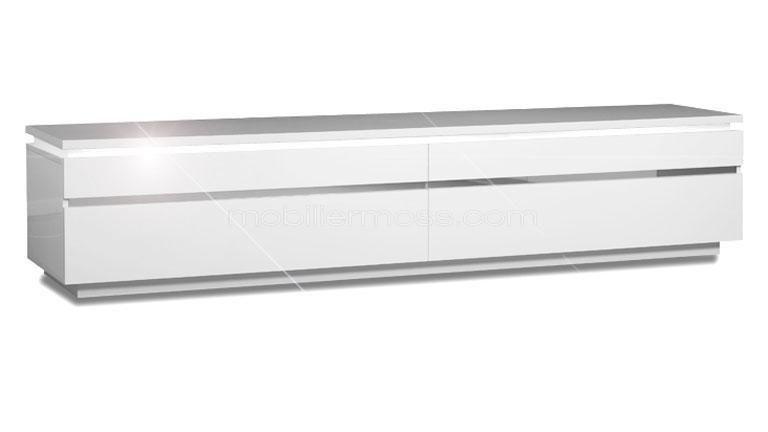 Meuble Tv Atract Blanc Laqua C Avec 2 Portes Et Luminaire Led