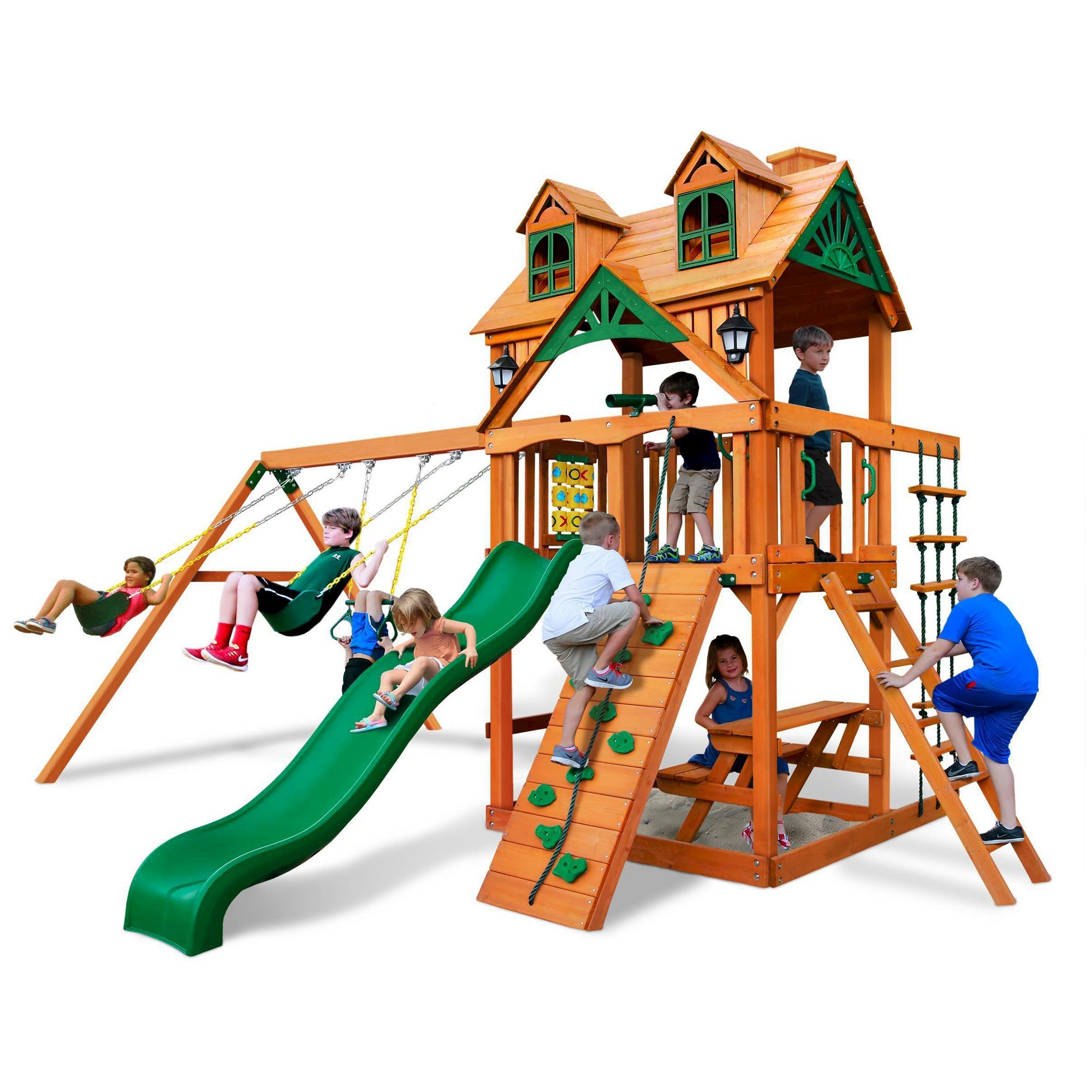 5b87fe8134d77 Gorilla Playsets Malibu Swing Set with Amber