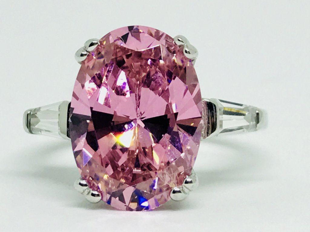A Fancy Pink 5.9CT Oval Cut Russian Lab Diamond Solitaire Ring ...