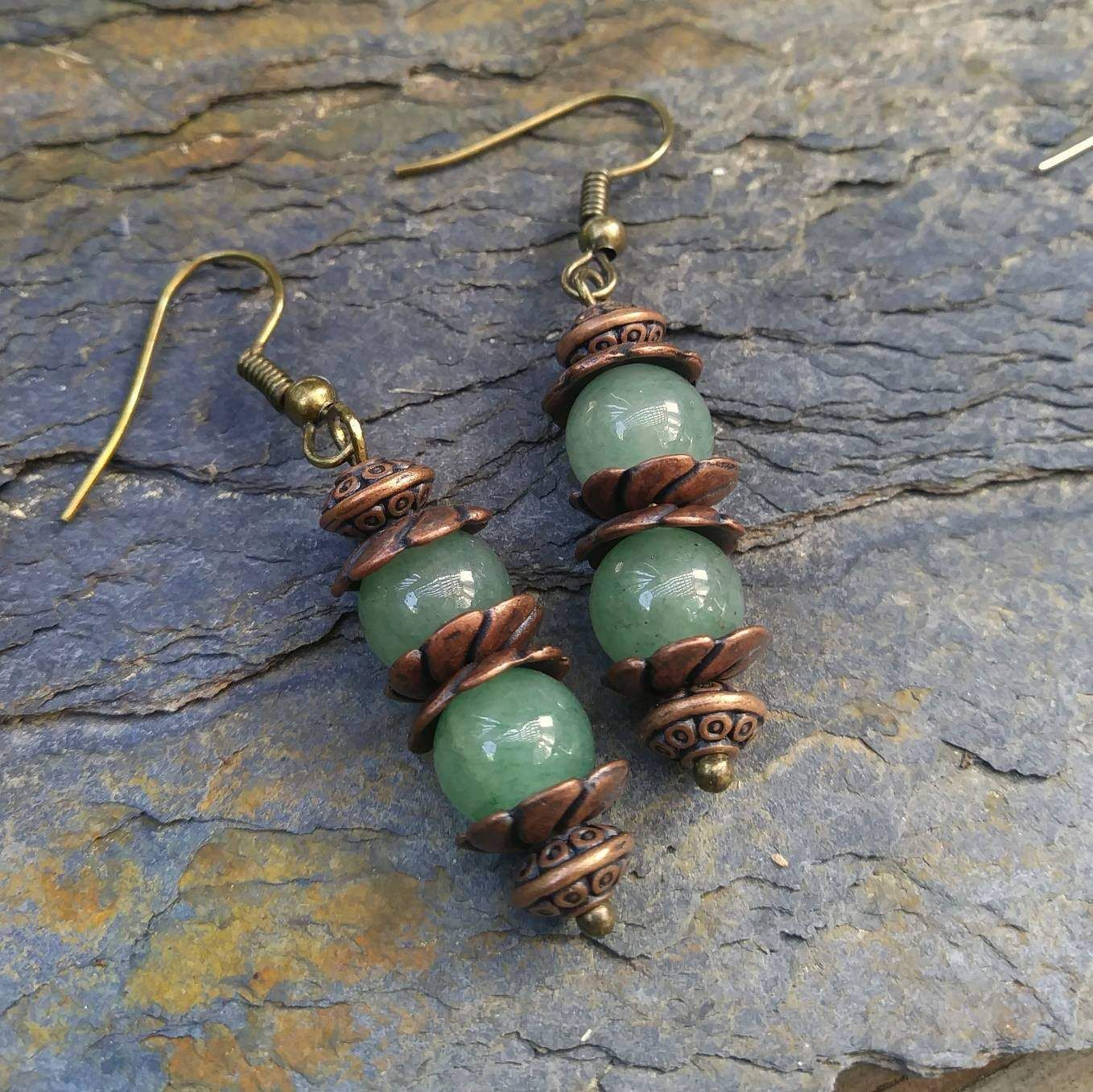 Photo of Green Aventurine Stacked Fidget Earrings w Antiqued Copper Finish