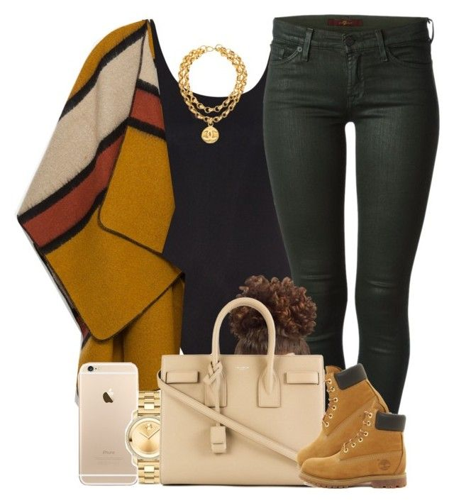 """""""Autumn Flow. """" by livelifefreelyy ❤ liked on Polyvore featuring Thapelo Paris, Zara, 7 For All Mankind, Movado, Yves Saint Laurent, Timberland and Chanel"""