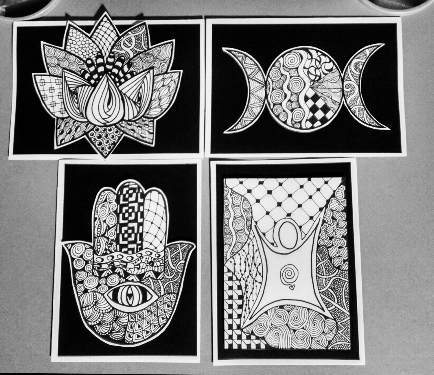 New age inspired zentangle greeting cards hand crafted unique new age inspired zentangle greeting cards hand crafted unique no two ever alike blank inside for your own message kristyandbryce Image collections