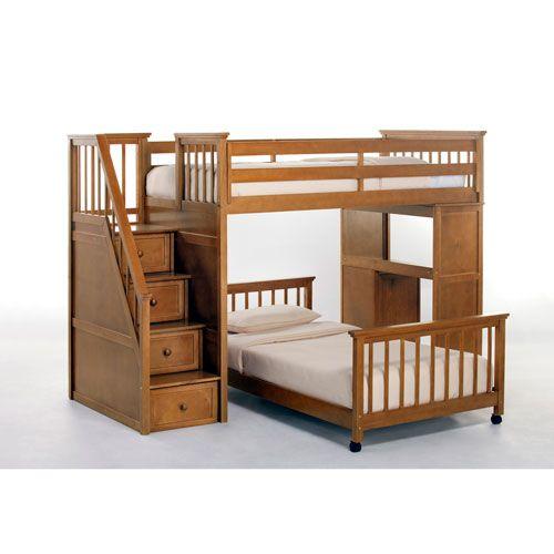 School House Pecan Twin Lower Stair Loft Bed Ne Kids Twin Kids Furniture…