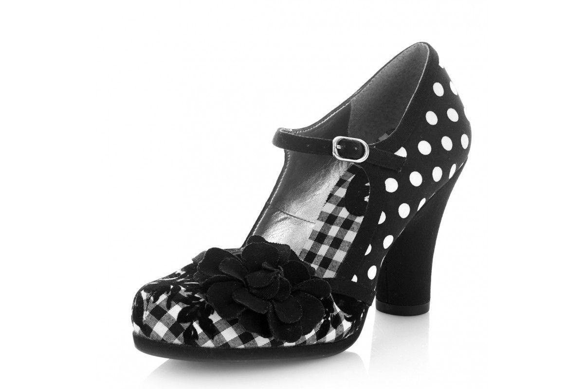 7778bcd4999 Ruby Shoo Hannah Black Spots Polka Dot High Heel Mary Jane Shoes ...