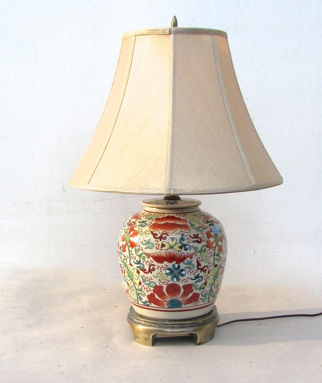 Ginger Jar Lamp Vintage Chinese Jar Tan Crackle Glaze Red