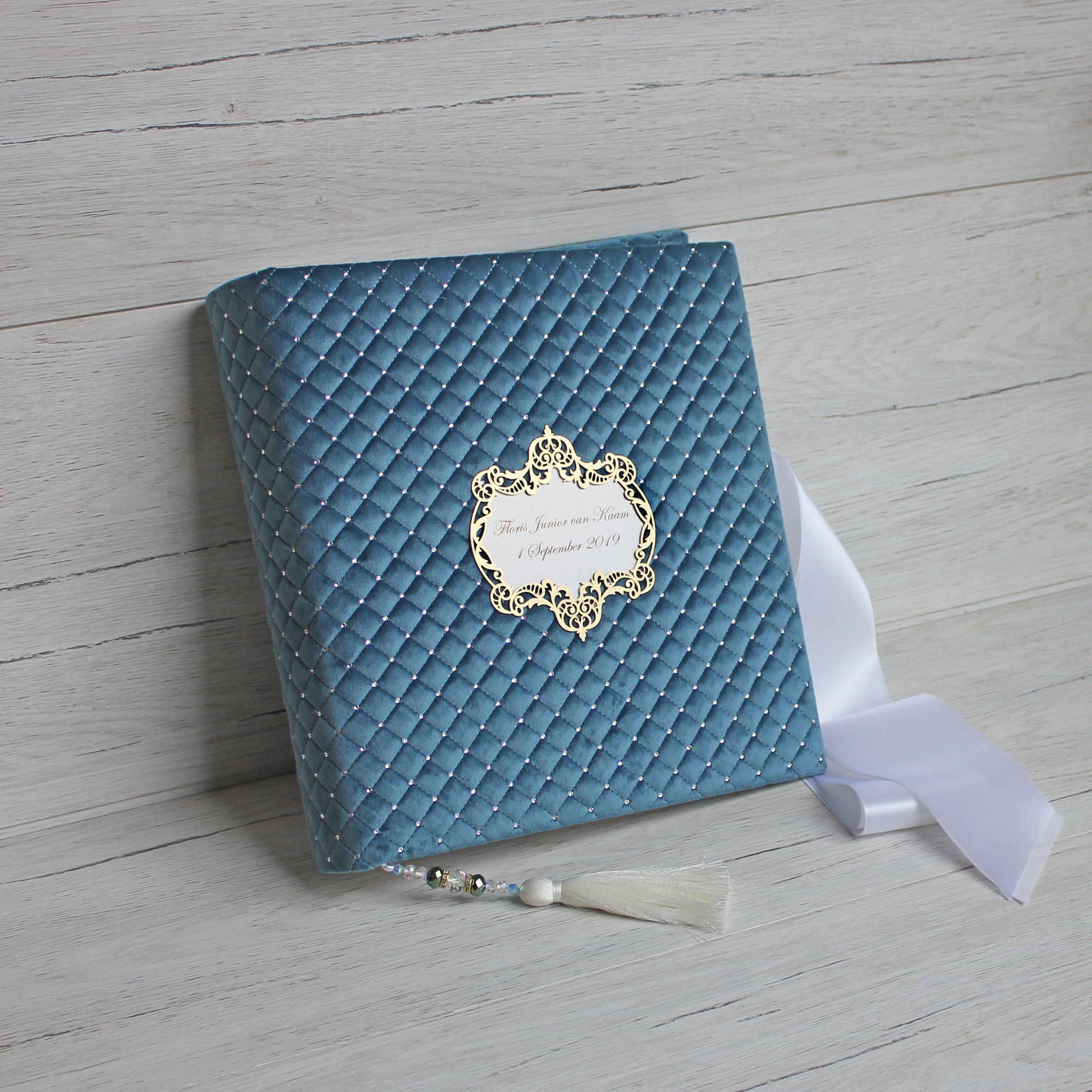 Azure blue wedding album for photos custom wedding guest