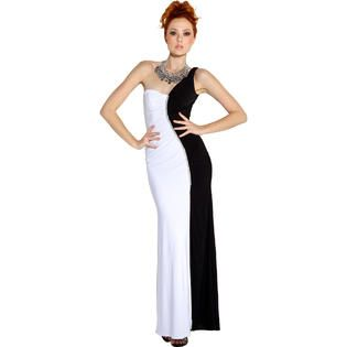 ef14d2d2 PacificPlex One Shoulder Stretch Black & White Evening Gown Prom Dress at  Sears.com