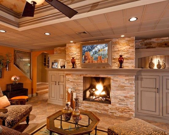 Traditional Basement Design Ideas Pictures Remodel And Decor Rustic Basement Basement Fireplace Basement Remodeling