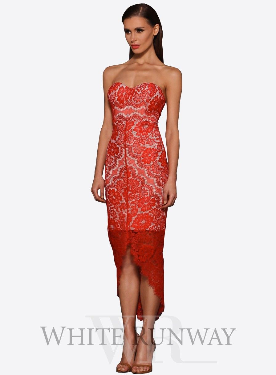 Macey Dress by Elle Zeitoune. Strapless, red lace evening dress by Elle  Zeitoune.