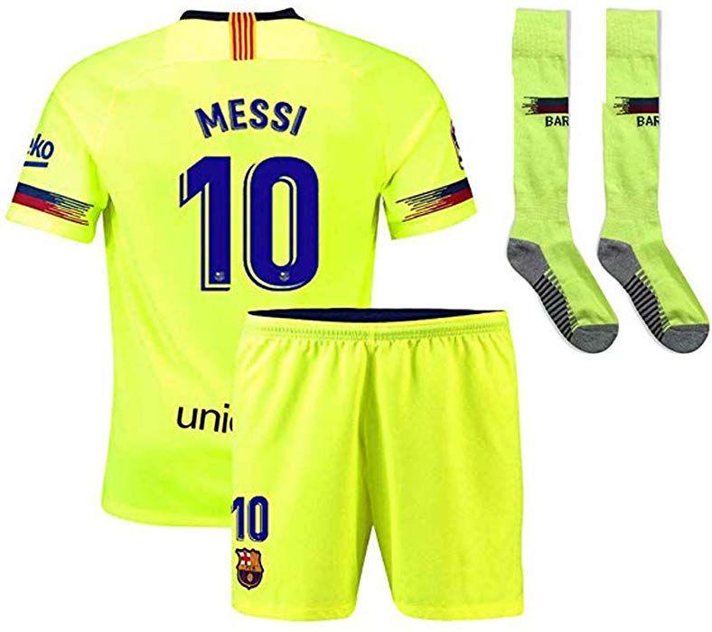 3160ccfeb20 Amazon.com: CRONTO 2018-2019 Away Messi #10 Barcelona Soccer Jersey Kids, Youth,Chlid Soccer Jersey & Shorts & Socks Green (8-9years/m): Clothing