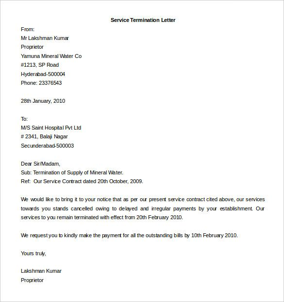 Contract Termination Letter Template Free Sample Example Format