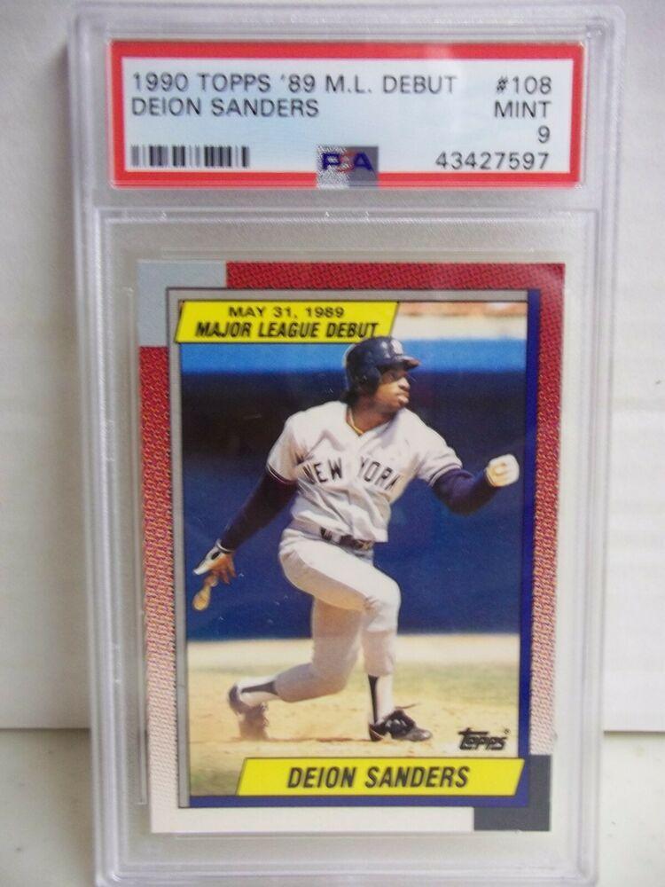 1990 Topps 89 M L Debut Deion Sanders Psa Mint 9 Baseball Card 108 Mlb Newyorkyankees Baseball Cards Baseball Giants Baseball