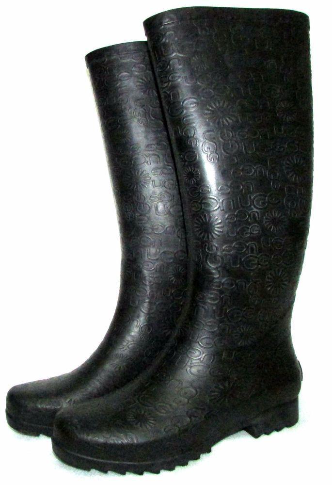 43cefc4caaa UGG Australia WILSHIRE LOGO Black Tall Women's Rain Boots Size US 8 ...