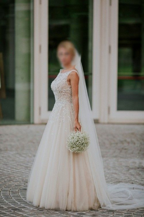 Suknie - Suknia ślubna Justin Alexander Signature 9795 NUDE - 5 000,00zł