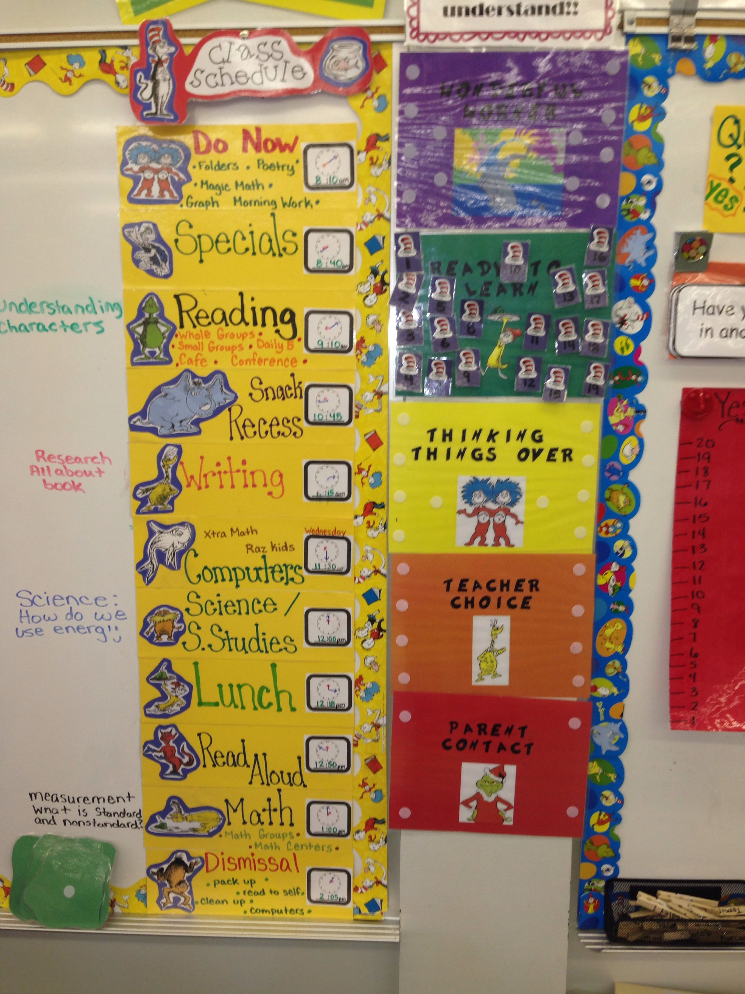 Dr Seuss Daily Schedule And Behavior Chart