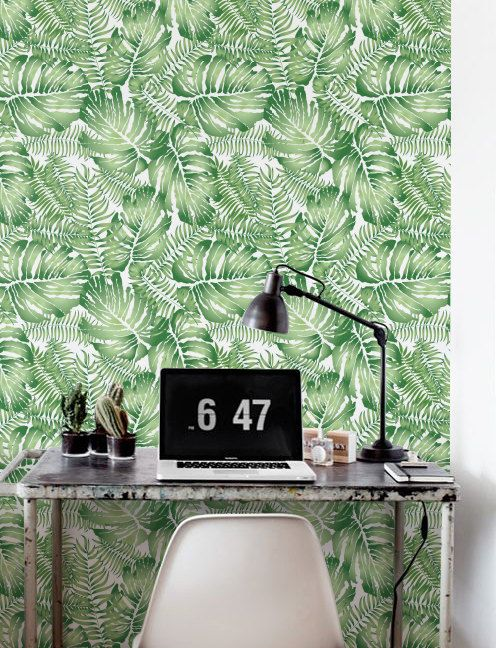 Watercolor Monstera Leaves Wallpaper Removable Wallpaper Etsy In 2021 Leaf Wallpaper Jungle Wall Decor Floral Wall Decor