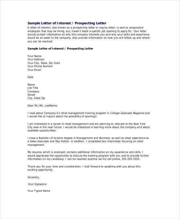 Letter Of Interest For Job Template Template Pinterest Template
