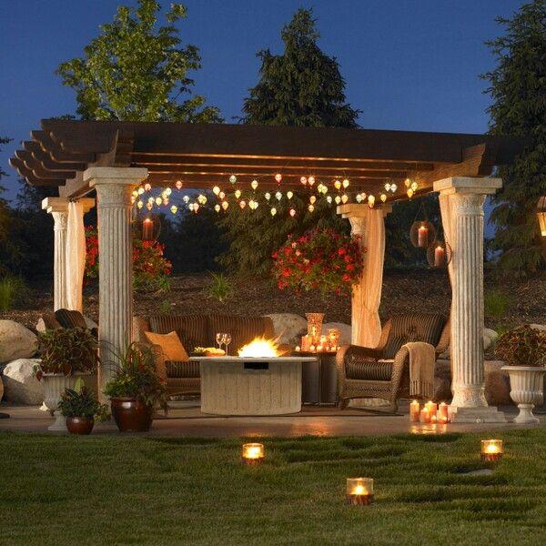 Outdoor Lightingdesign Ideas: Pergola Set On Roman Columns. Fun Lighting Throughout