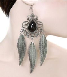Have one to sell?Sell it yourself  	 	  Three Leaves Chandelier Stone Earrings - Gunmetal  For Sale