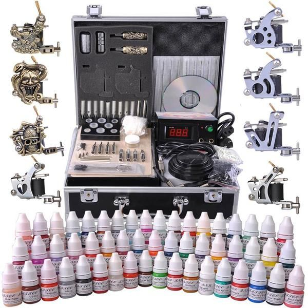 Tattoo Kit 8 Guns LCD Power Supply 54 Ink w/ Case | tattoos | Tattoo ...