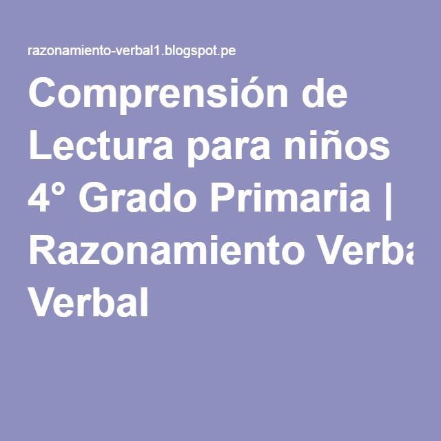 Comprensión de Lectura para niños 4° Grado Primaria | Razonamiento ...