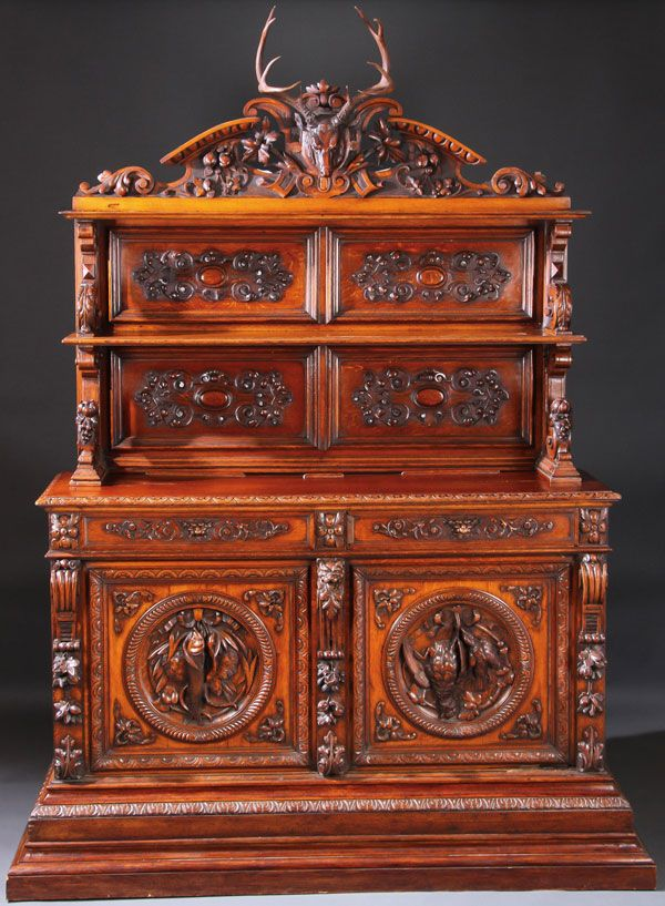 A Carved Oak Hunt Cabinet Swiss Or German Late 19th Century
