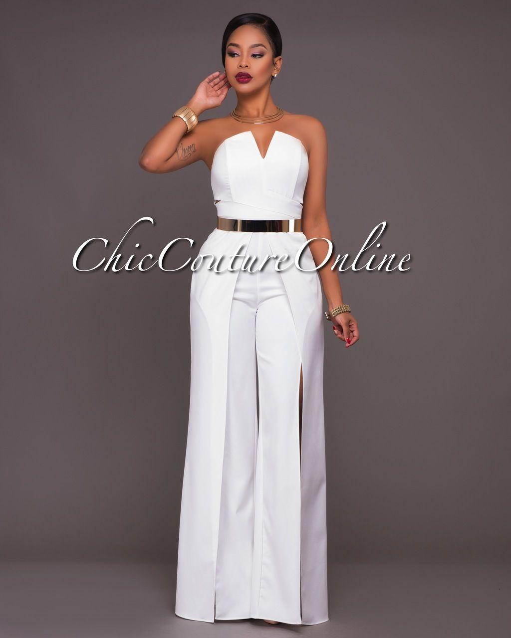 58951493a2e Chic Couture Online - Jaiden Off-White Wide Slit Legs Jumpsuit