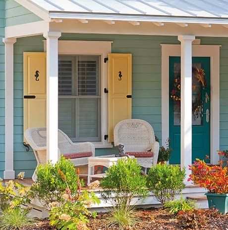 Decorative coastal window shutters for curb appeal beach - Coastal home exterior color schemes ...