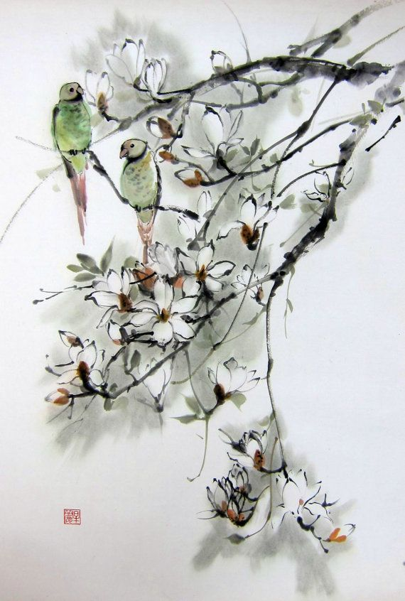 Ink Painting Japanese Art Asian Art Sumi E Suibokuga Flower Birds