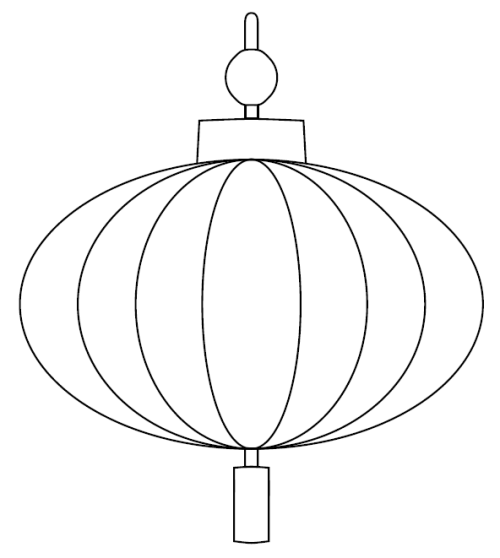 Chinese Lantern Printable Outline In Black Crayon And Then