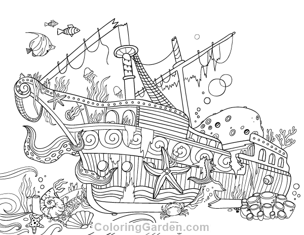 Free printable sunken ship adult coloring page. Download it in PDF ...