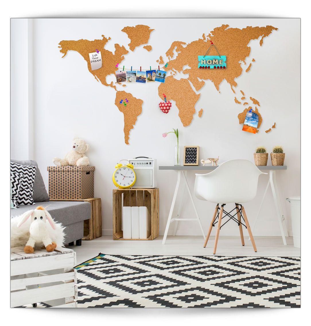 details zu pinnwand weltkarte korktafel 100 natur kork selbstklebend wandbilder xxl format. Black Bedroom Furniture Sets. Home Design Ideas