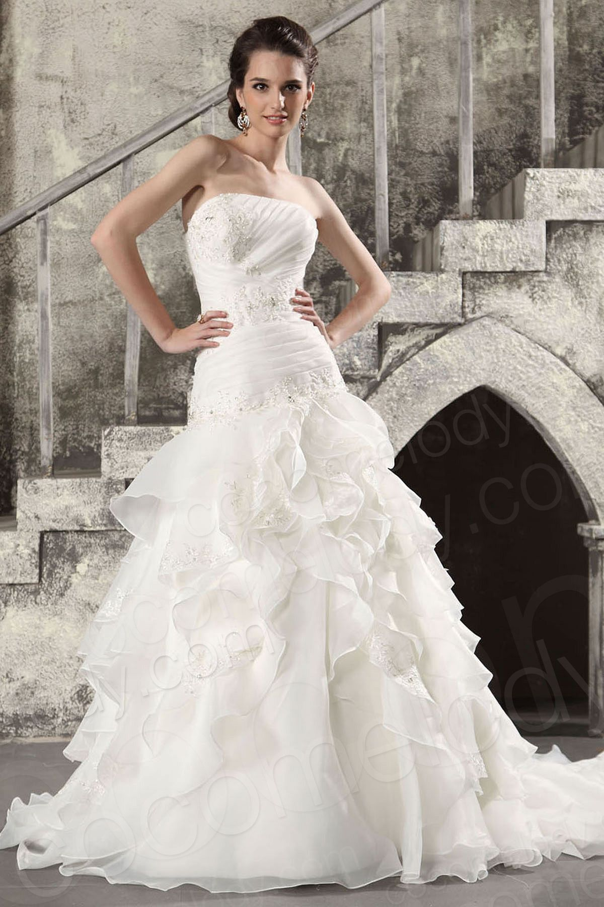 Wedding dress without train  Sparkle Strapless Dropped Waist Chapel Train Organza Lace UpCorset